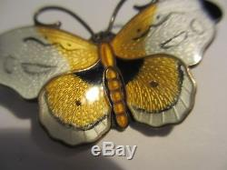 Magnificent Large 2 Hroar Prydz Norway Sterling Guilloche Enamel Butterfly #2