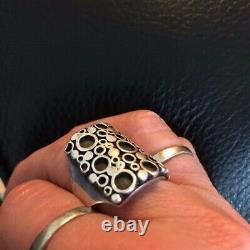 Marianne Berg for Uni David-Andersen heavy silver'circles' ring sz 6.5