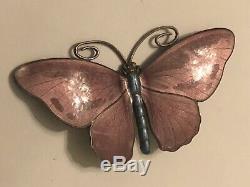 Marius Hammer Butterfly Brooch Sterling Silver Enamel Norway Norwegian