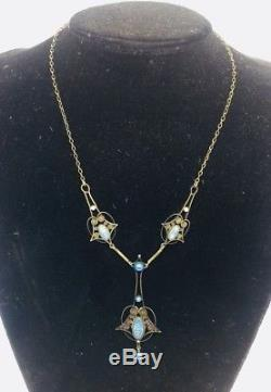 Marius Hammer Norway Vintage Sterling Silver & Blue Enamel Drop Necklace