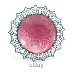 Marius Hammer Plique A Jour Antique Enamel 830s Footed Decorative Silver Dish