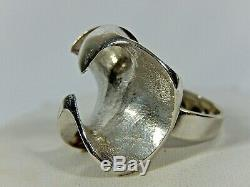 Matti J Hyvarinen Scandinavian Modern Huge Sterling Silver Brutalist Adj Ring