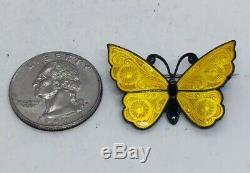 Meka Vintage Denmark Sterling Silver Yellow Enamel Butterfly Pin