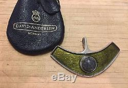 Mid Century David Anderson Sterling silver Enamel Green Pendant