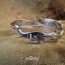 Mid Century HANSEN/Sweden/Sterling Silver Leaf Bracelet/EXCELLENT