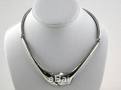 Mid Century Modern Poland Sterling Silver Choker Necklace Hinged Design MCM 40 G