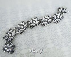 Mid century modern 830 Silver Scandinavian silver floral panel link bracelet