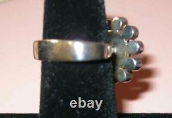 Modern Danish Sterling Silver Ring Amber Einar Fehrn Denmark Flower Mid Century