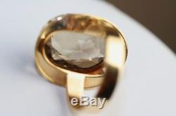 Modernist 1966 Finland Scandinavian 14K Gold Gemstone Ring Signed PLP Size 6.5