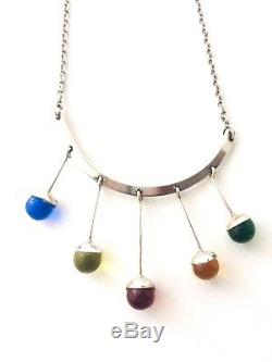 Modernist'60'S Swedish STERLING Drop 5 Round Colored Stone Necklace Marked