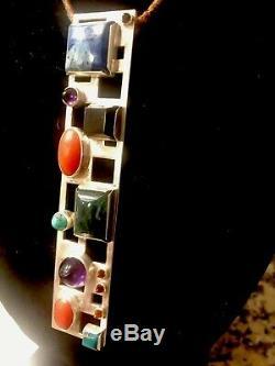 Modernist Bent Knudsen Denmark by hand #188 Jeweled Sterling Pendant &. Necklace