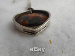 Modernist Kupittaan Kulta Finland 925 & moss agate pendant & 18 chain necklace