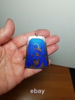 Modernist Norway NM Thune Sterling Silver Blue Enamel Pendant