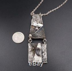 Modernist Norway Sterling Silver 3D Textured Necklace 24 Signed 305 RS NS1000