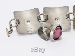 Modernist Vintage Set 1970s Kea Pewter Bracelet Ring Pink Cabochon Denmark