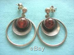 NE From (Niels Erik From) Denmark Sterling Silver Earrings with Amber