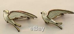 NORWEGIAN NORWAY HROAR PRYDZ 925S WHITE ENAMEL' BIRDS IN FLIGHT 2 PINS c1960's