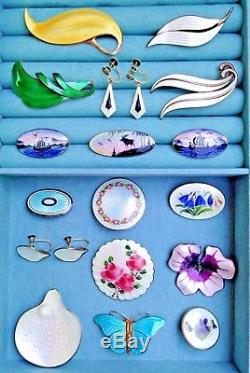 NORWEGIAN Sterling Silver Enamel Brooch Pin VINTAGE JEWELRY Lot ANDERSEN JENSEN