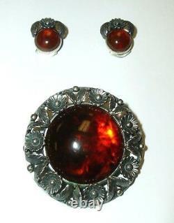 N. E. FROM Sterling 925 S Silver & Amber Earring & Brooch Set Denmark