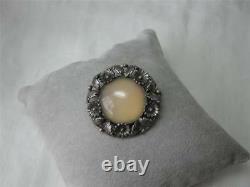 N E From Denmark Rose Quartz Scandinavian Sterling Brooch Mid-Century Jewelry