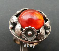 N. E. From (Niels Erik From) Denmark Sterling Silver Ring with Amber