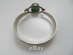 Ne From Denmark Sterling Silver Aventurine Bangle Bracelet Vintage Handmade