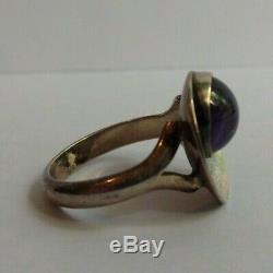 Ne From Denmark Vintage Amethyst & Sterling Silver Modernist Ring Size 6