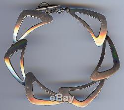 Ne From Denmark Vintage Modernist Sterling Silver Link Bracelet