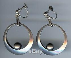 Ne From Denmark Vintage Modernist Sterling Silver Screwback Dangle Earrings