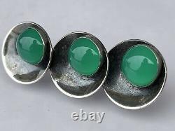 Niels Erik FROM Vintage Sterling Silver Brooch with Jade 1 3/4
