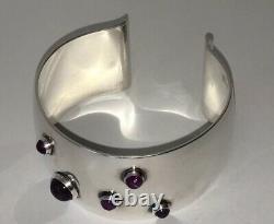 Niels Erik From Denmark Amethyst Sterling Silver Danish Modernist Cuff Bracelet
