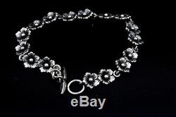 Niels Erik From From Denmark Sterling Silver Floral Bracelet c. 1960