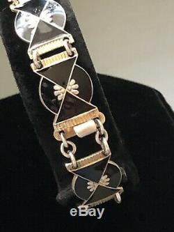 Nils Elvik Sterling Silver Enamel Art Deco Bracelet Norway Norwegian