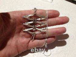 Norway David Andersen Modernist 3-Tier Necklace & Chain 925S Sterling Orig. Chain