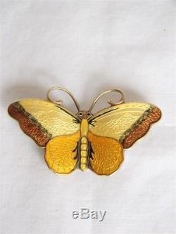 Norway Enamel & Sterling Butterfly Pin By Hroar Prydz Of Oslo
