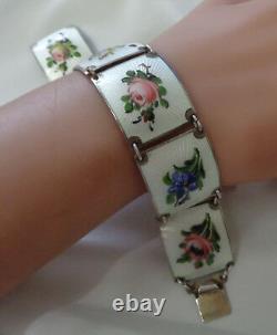 Norway Finn Jensen Sterling & Enamel Bracelet W, Pink & Lavender Flowers On Whi