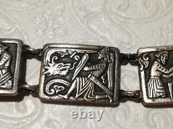Norway Nils Elvik 830S Silver Bracelet Norge Scenic Viking Design Dragon Vintage