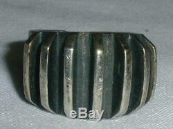 Norway Sterling Age- Anna Greta Eker Modernist Grooved Band Ring- Size 6.5- 7