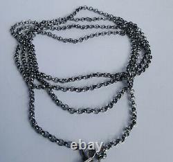 Norwegian 80's Folke Helle Silver Oxidized 830s Bunad Solje Long Chain 54