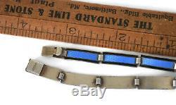 Norwegian Bracelet Cobalt Blue & Black Guilloche Enamel David Andersen of Norway