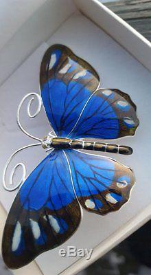 Norwegian Marius Hammer Great Huge 8cm Sterling enamel butterfly