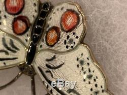 Norwegian Norway Hroar Prydz 925s Enamel C1960's Butterfly 2 Pin-brooch