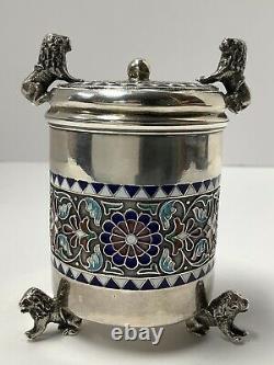 Norwegian Silver Champleve Enamel Signed Marius Hammer Condiment Shaker
