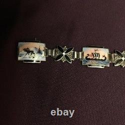 Norwegian Sterling Silver Scenic Enamel Bracelet Aksel Holmsen / Norne Norway