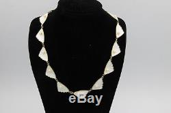 Norwegian Sterling Silver & White Enamel Guilloche Necklace w Pearls