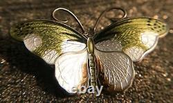 Norwegian Sterling Silver and Enamel Butterfly Brooch Hroar Prydz Scandinavian
