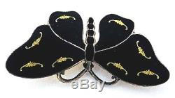 O F Hjortdahl Sterling+BLACK & GOLD Enamel Butterfly Pin50s Norway BroochRARE