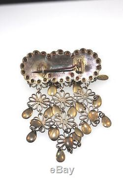 Old Made In Norway Solje Wedding Long Dropper Brooch 830 Silver C-clasp