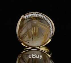 Ole Lynggaard Big Size Lotus Ring 18K Gold with Diamonds & Quartz A1196