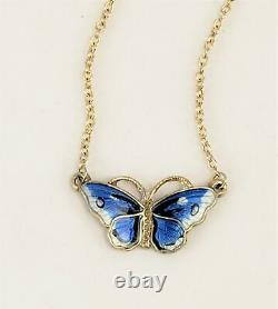 Ole Petter Raasch Olsen OPRO Norway Gilt 925 Sterling Enamel Butterfly Necklace